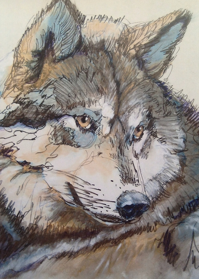 Alpha Wolf Ohoyo Means Hello Art | Nosco Fine Art