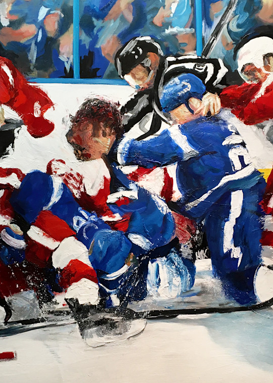 A Little Scrap - Wings Bolts Hockey Art Painting by Michael Serafino Available - Prints on Paper, Metal, Canvas and Acrylic - Wet Paint NYC Gallery