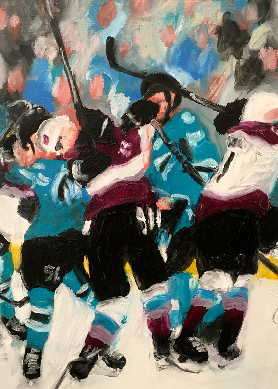 Getting Chippy (Sharks/Avs) Hockey Painting for Sale - Prints on Paper, Metal and Canvas - Micheal Serafino - Wet Paint NYC Gallery