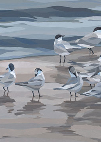 """Reproductions from """"Gray Day Birds"""", an original 30x15 acrylic on canvas."""