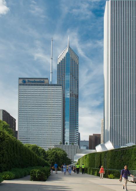 Pathway to skyline in Millennium Park, Chicago