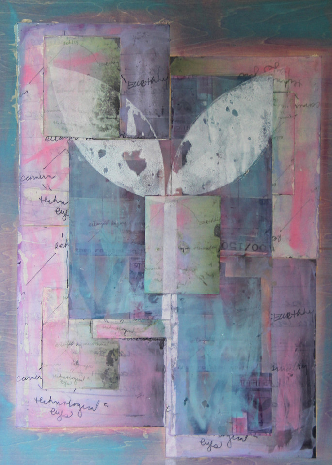 flower, collage, paper, ink, wood