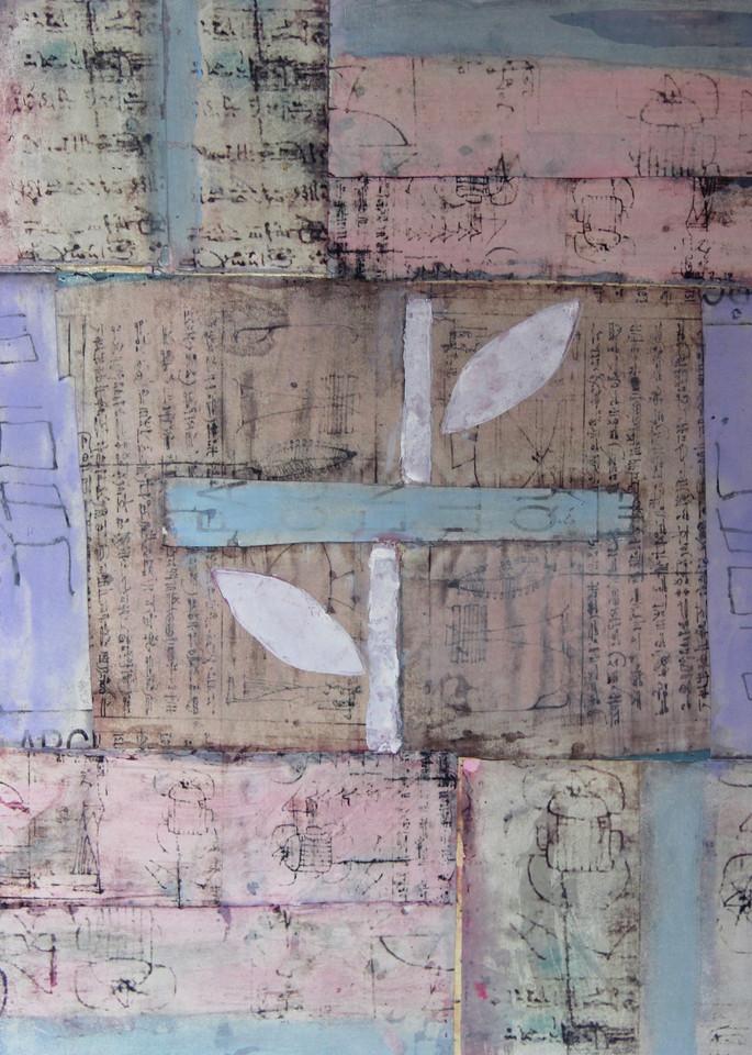 flower, moon, language, collage, ink