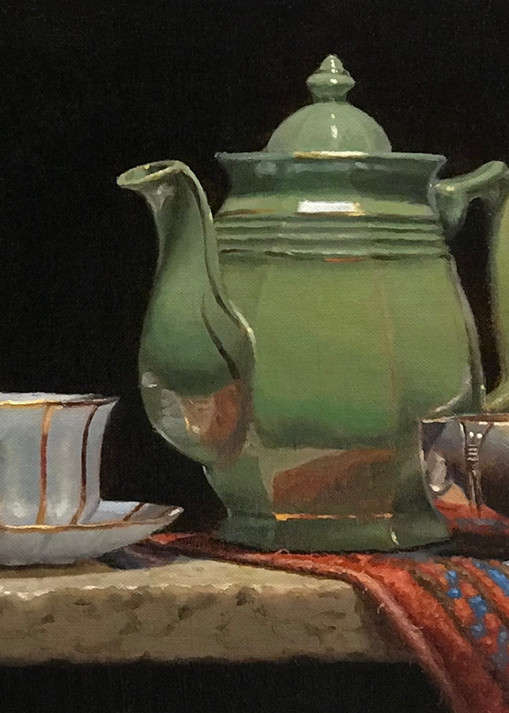 Green Teapot With Oriental Rug Art | Jeff Hayes Fine Arts