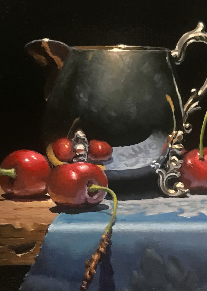 Cherries And Silver Art | Jeff Hayes Fine Arts