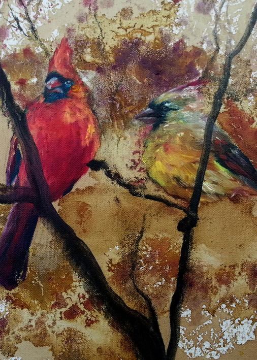 Cardinal Couple In Autumn Art | Christy! Studios