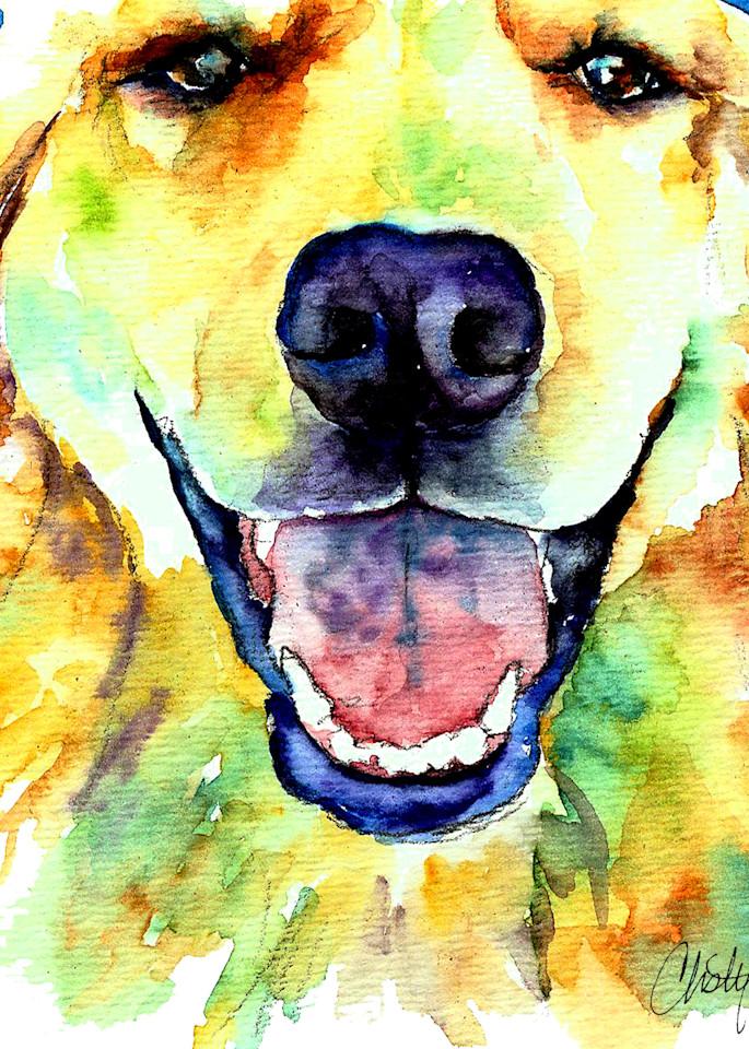 Golden Retriever Dog Smiling Art | Christy! Studios