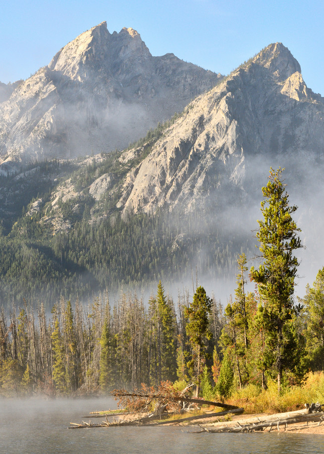 Misty Morning over  Stanley Lake - Sawtooth Basin in Central Idaho - Fine Art Prints on Metal, Canvas, Paper & More By Kevin Odette