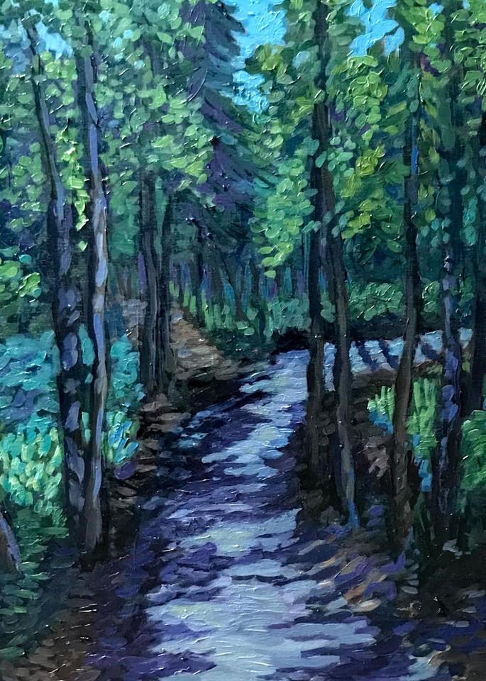 Landscape in Alaska - Forest Path by Amanda Faith Alaska Painter
