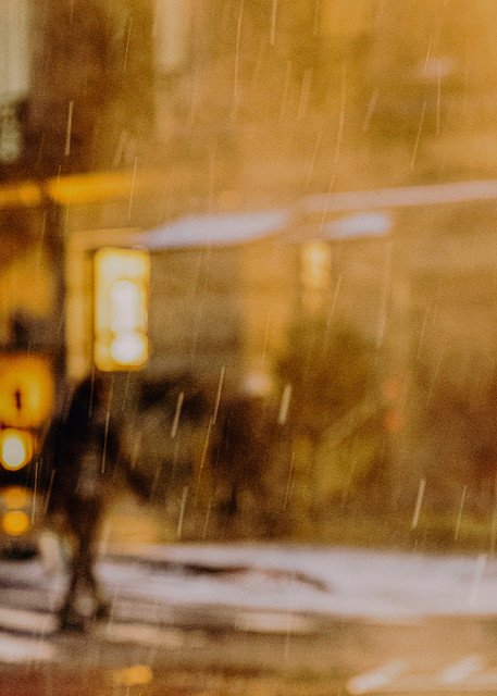 Man Crossing Wall St In Snow Photography Art | LenaDi Photography LLC