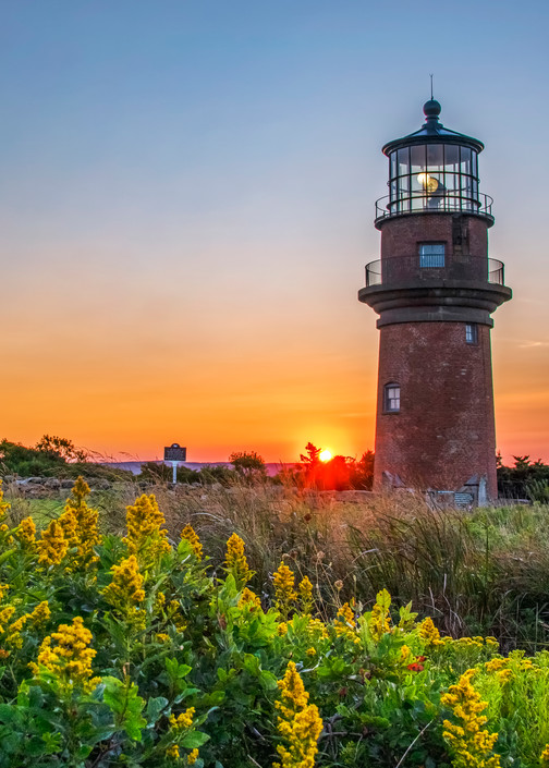Gay Head Light Fall Sunrise Ragweed Art | Michael Blanchard Inspirational Photography - Crossroads Gallery
