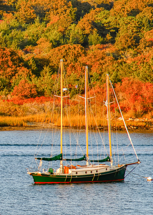 Quitsa Pond Sailboat Fall Art | Michael Blanchard Inspirational Photography - Crossroads Gallery