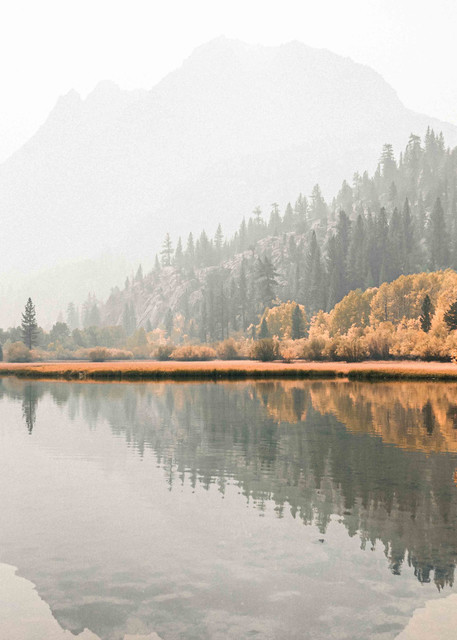 Quiet Musings - a smokey morning on the lake in the Eastern Sierras, Californian photograph print
