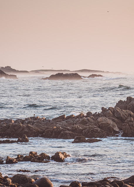Blue Dreaming - Sunset on the rocky coast of Pebble Beach, California photograph print