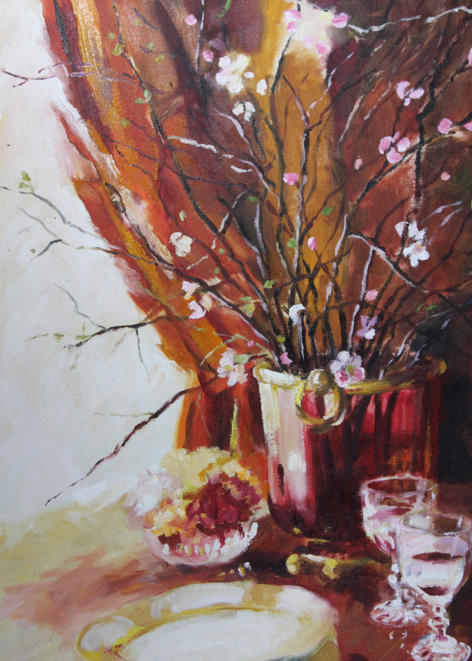 still life oil painting finely dine burgundy cranberry red cherry blossoms