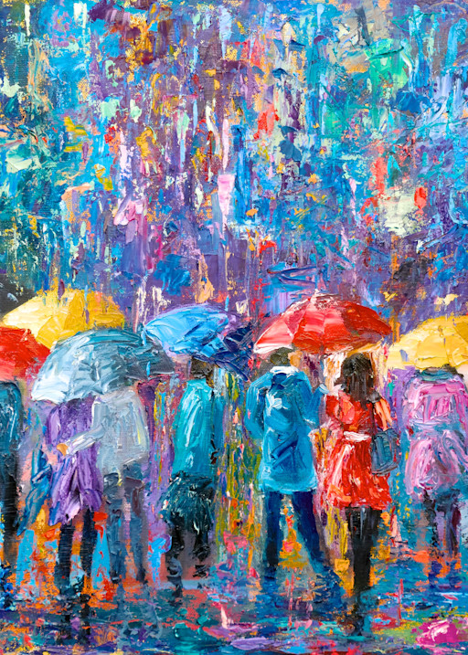 Lovers Walk In City Rain V  Art | Pamela Ramey Tatum Fine Art