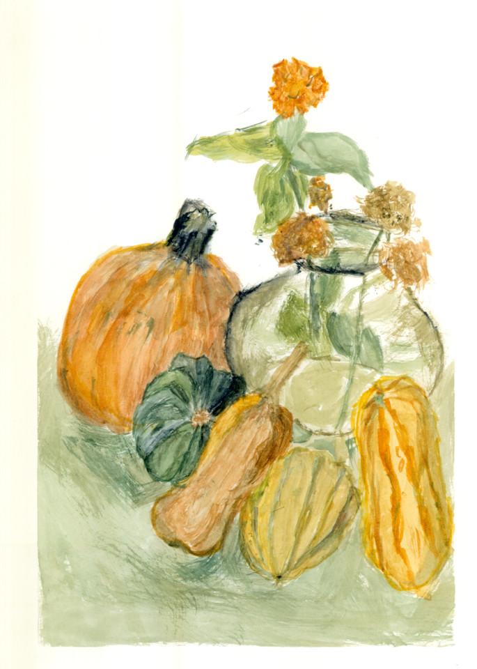 Last Zinnia Still Life With Autumn Squash Art   Howard Lawrence Fine Art