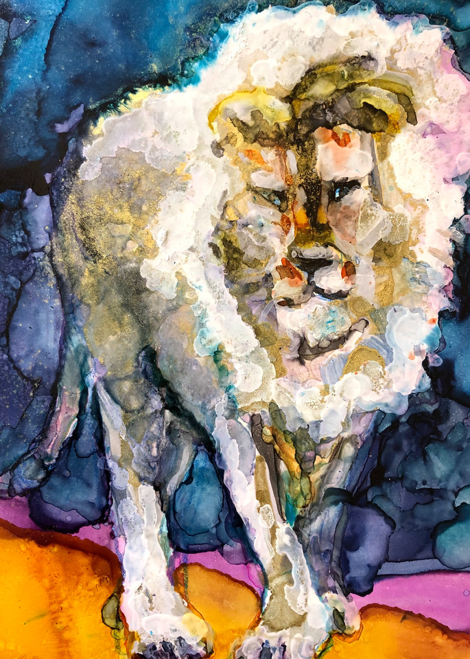 """High quality print of """"Miracles of the Majestic Ready to Roar 16 by Monique Sarkessian, alcohol ink painting."""