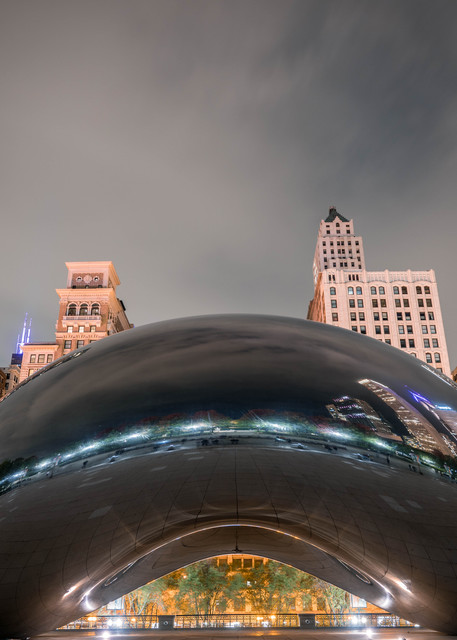 Chicago Cloud Gate At Night 2 Photography Art   William Drew Photography