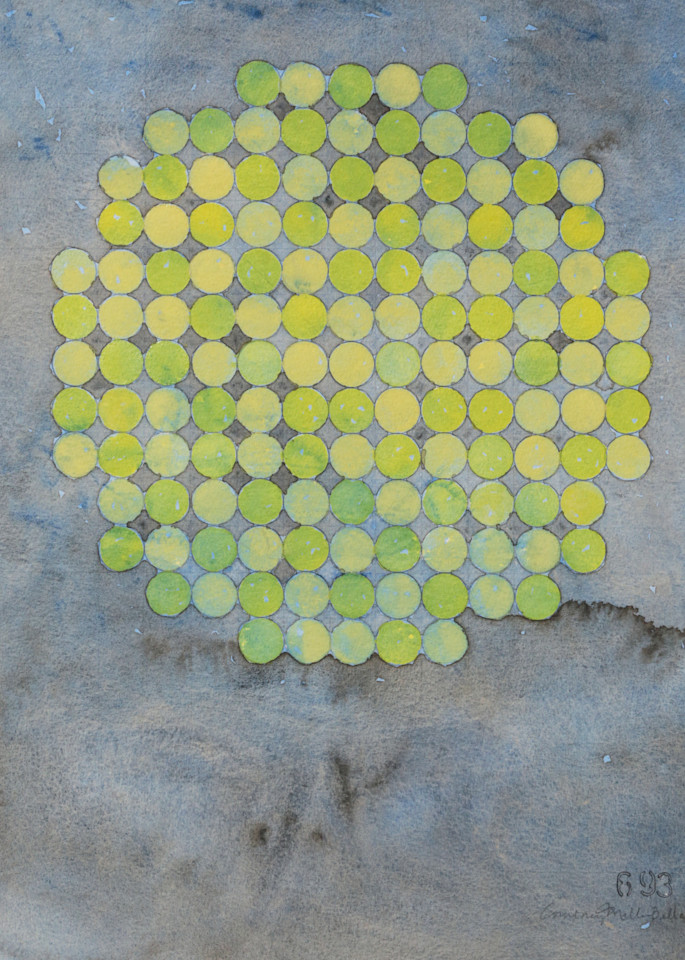 Circle Circle, Lime On Cool Gray Art   Courtney Miller Bellairs Artist
