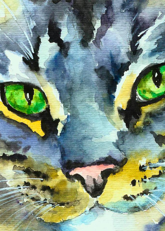 Gray Green Eyed Kitty Art | Christy! Studios