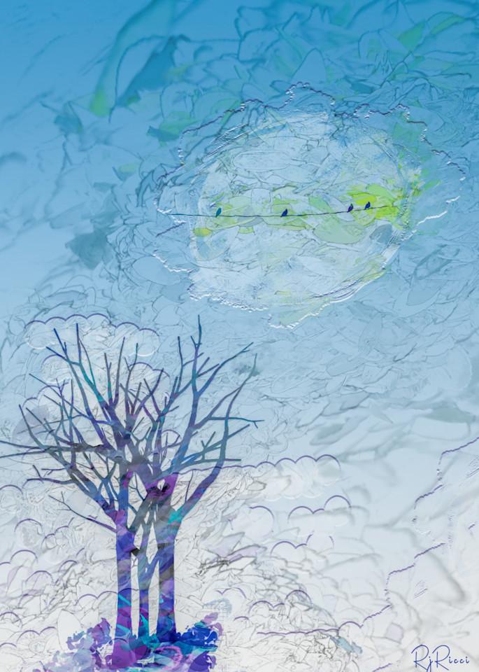 Birds On A Full Moon  Art | R.j.Ricci Art