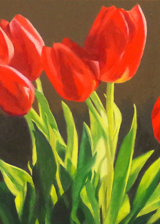 Bright Red Tulips Art   Helen Vaughn Fine Art