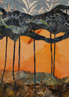 Morning Gold  Print is from an original textile mosaic by Sharon Tesser