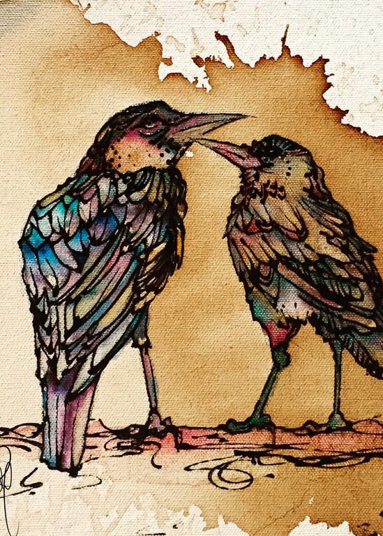 Grackle Bird Love Coffee and Watercolor Art