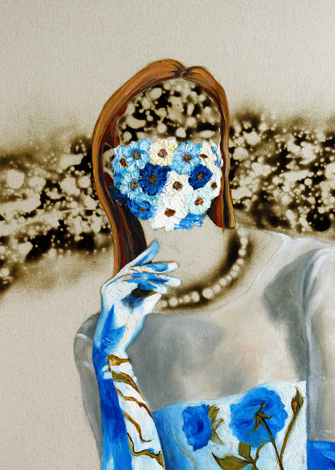 Flower Mask, Burn Model Covid Pandemic Art by Michael Serafino Available for Purchase - Wet Paint NYC Gallery