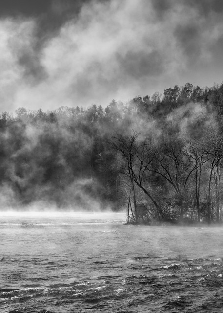 Hiawassee River Mists in black and white - Smoky Mountains fine-art photography prints