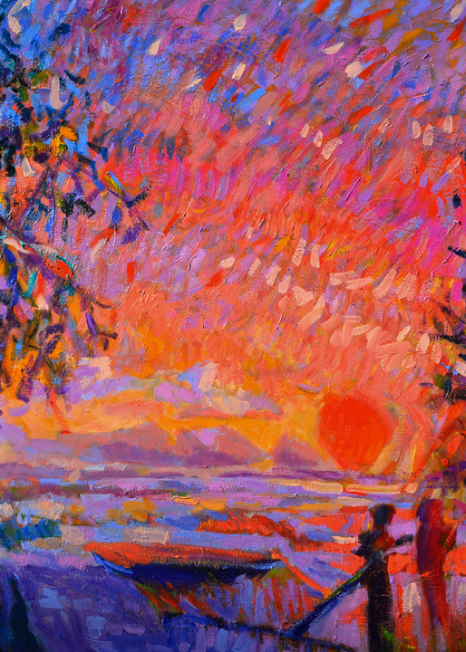 Large Red Sunset Painting, Canvas Art by Dorothy Fagan