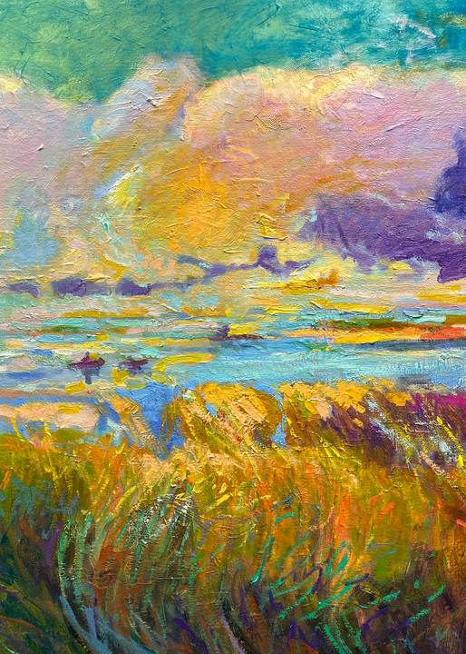 Large Marsh Painting with Kayaks, Canvas Art by Dorothy Fagan