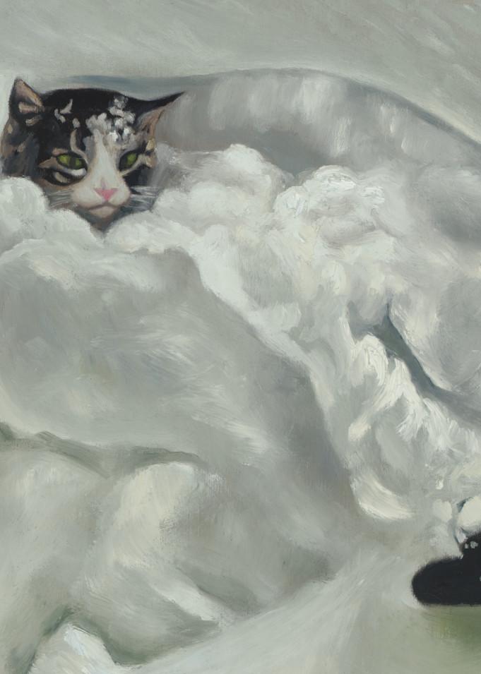 art of cat in snow