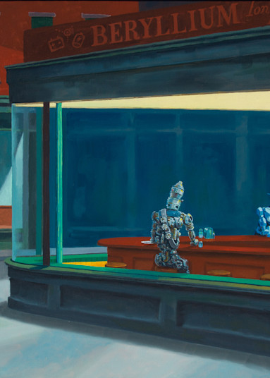 Nighthawks but with Robots painting