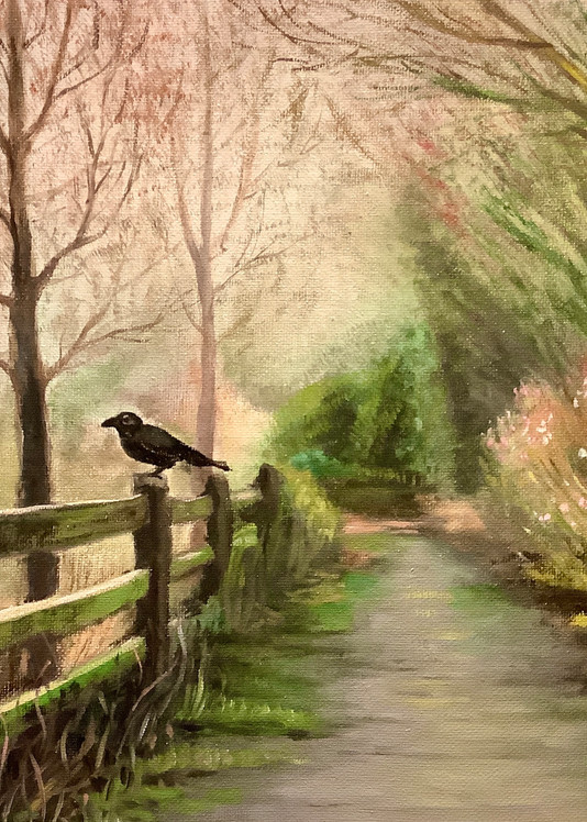 Crow in the Mist Fine Art Gallery Print by American Artist Hilary J England