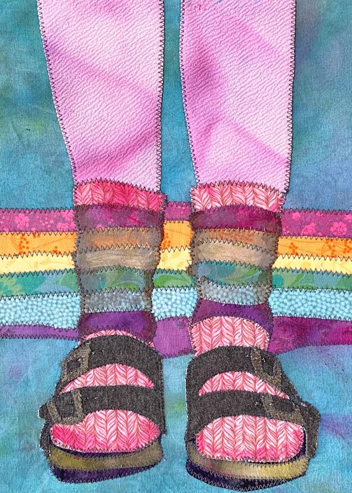 Birkentstock and Socks fabric art