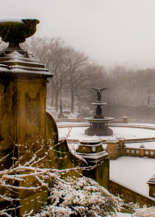 Bethesda Fountain In Snow #2  Photography Art | Ben Asen Photography