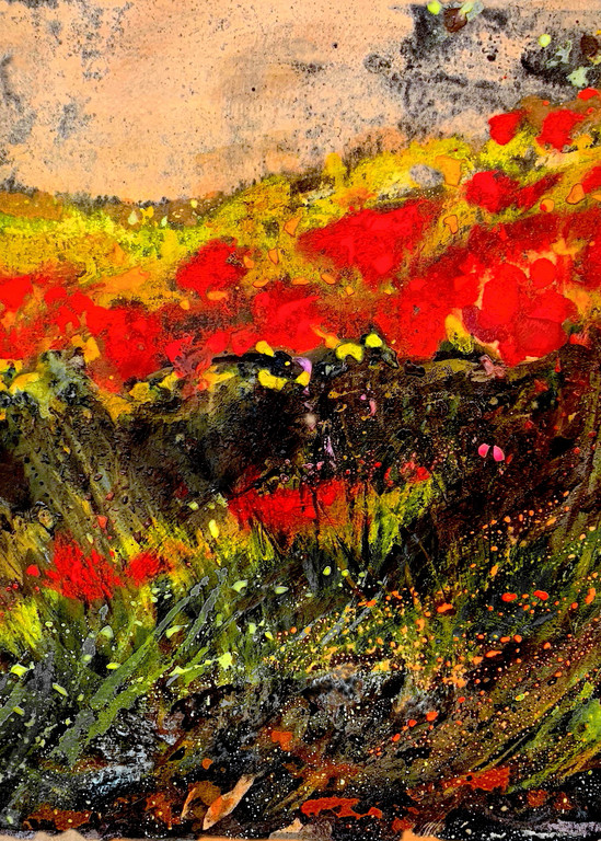 """""""Red Poppies and Goldenrod"""" Mixed Media on Paper by Emily Gilman Beezley"""