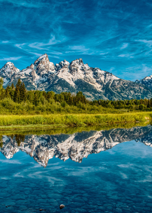 Beautiful reflection at Schwabacher Landing in Grand Teton National Park. This is a much photographed location, but the reflection and light in this image was the nicest that I captured in several visits here.