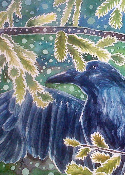 Forest Raven Mug Art   Amanda Faith Alaska Paintings / Estuary Arts, LLC
