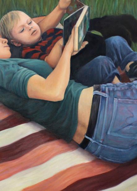 Reading On A Blanket Art   Lidfors Art Studio