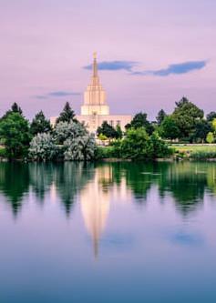 Idaho Falls Temple - Blue Sunset Reflection