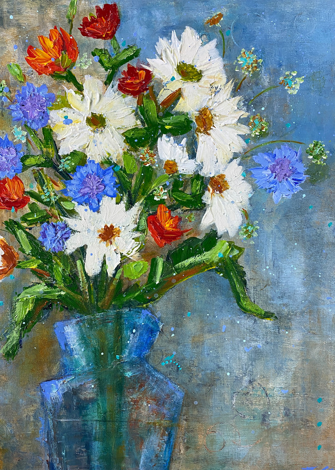 White And Blue Flowers (Print) Art   Marissa Sweet