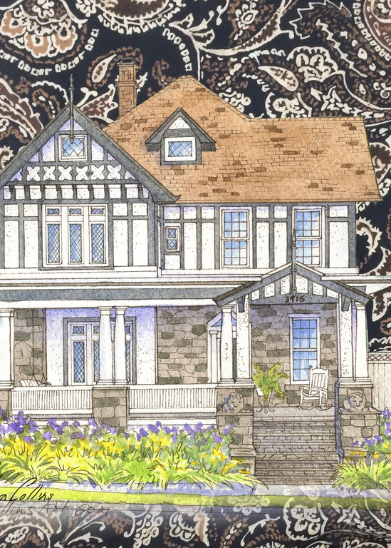 Time Honored Tudor On Silk Collage Art | Leisa Collins Art
