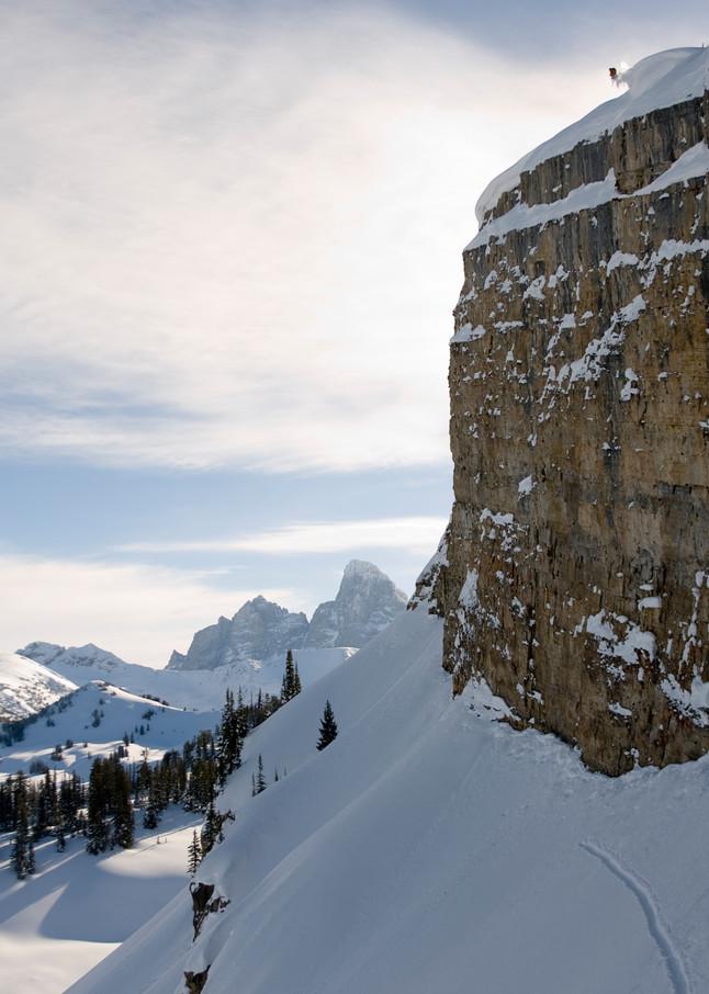 Jamie Pierre, 250 Foot Cliff Jump, Grand Targhee Backcountry, WY