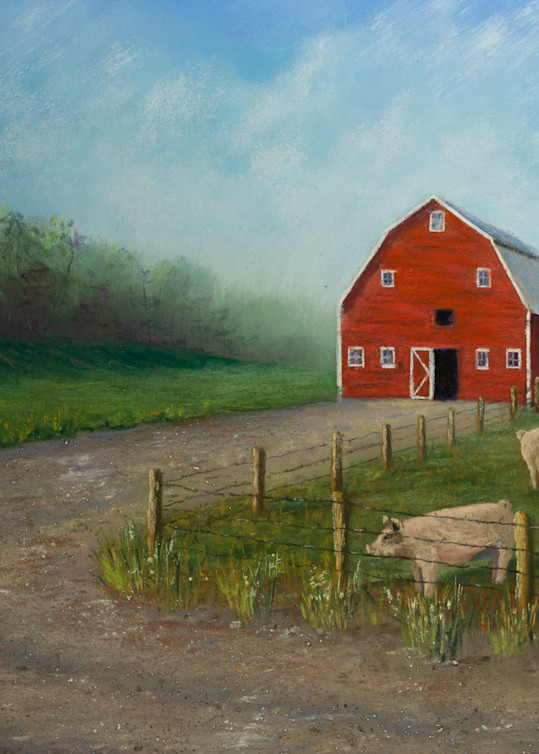 Red Barn With Pigs Art | Mark Grasso Fine Art