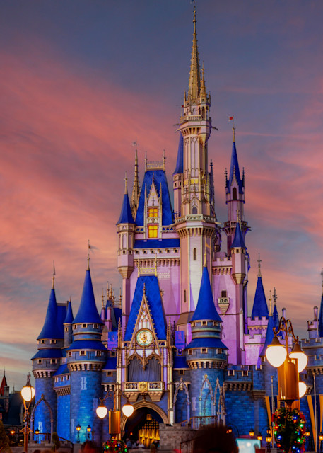 Cinderella Castle Under A Pink Sky Photography Art | William Drew Photography