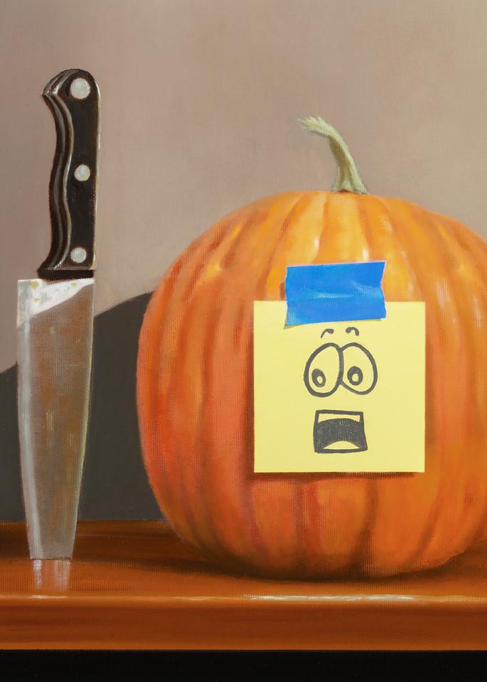 Pumpkin Panic   humorous, pumpkin carving drama   Richard Hall print