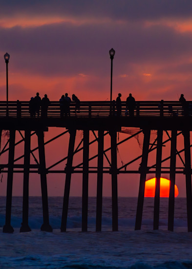 Dramatic Sunset Silhouettes Pier